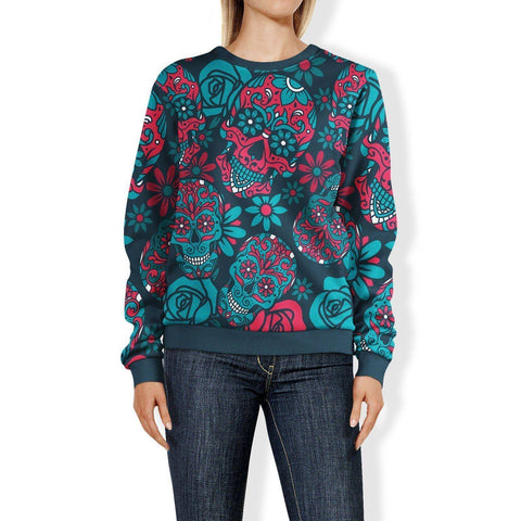 Image of Blue and Red Sugar Skull Sweatshirt Sweatshirt
