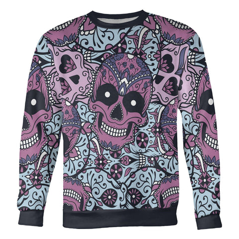 Image of Purple and Light Blue Sugar Skull Sweatshirt Sweatshirt Purple and Light Blue Sugar Skull Sweatshirt S