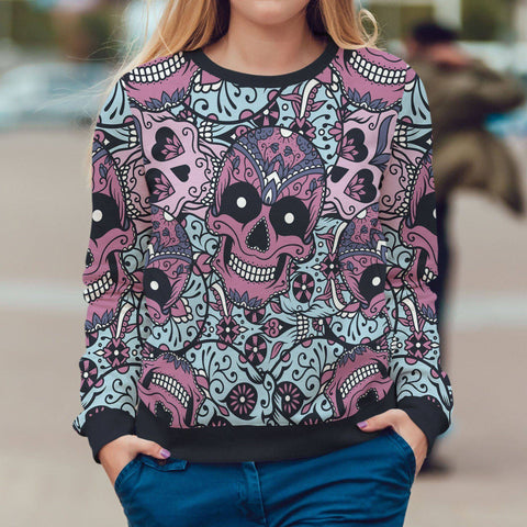 Image of Purple and Light Blue Sugar Skull Sweatshirt Sweatshirt