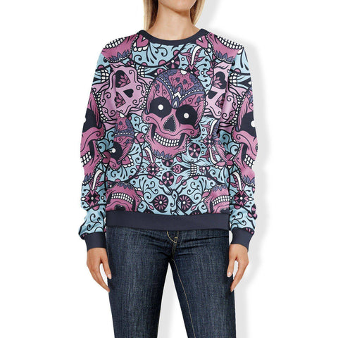 Purple and Light Blue Sugar Skull Sweatshirt Sweatshirt