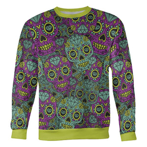 Purple and Teal Sugar Skull Sweatshirt Sweatshirt Purple and Teal Sugar Skull Sweatshirt S