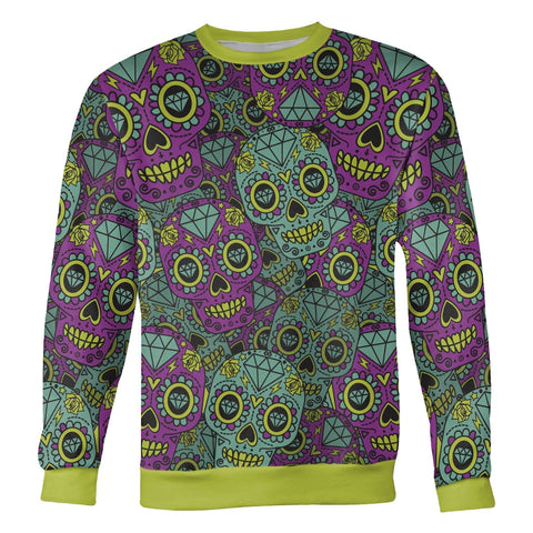 Image of Purple and Teal Sugar Skull Sweatshirt Sweatshirt Purple and Teal Sugar Skull Sweatshirt S