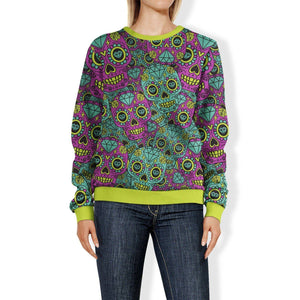 Purple and Teal Sugar Skull Sweatshirt Sweatshirt