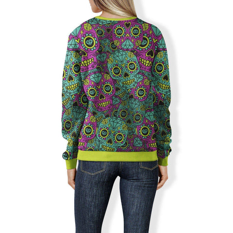 Purple and Teal Sugar Skull Sweatshirt