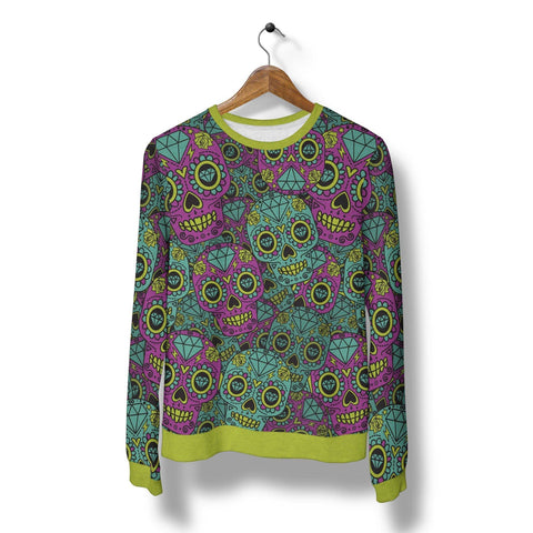 Image of Purple and Teal Sugar Skull Sweatshirt Sweatshirt