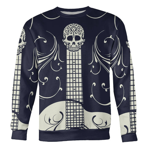 Blue and White Sugar Skull Guitar Sweatshirt Sweatshirt Blue and White Sugar Skull Guitar Sweatshirt S