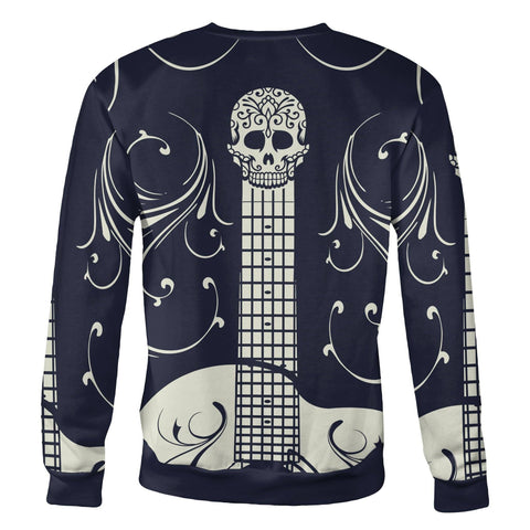 Blue and White Sugar Skull Guitar Sweatshirt