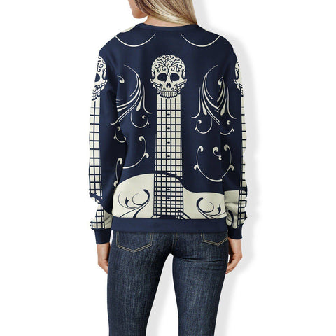 Image of Blue and White Sugar Skull Guitar Sweatshirt Sweatshirt
