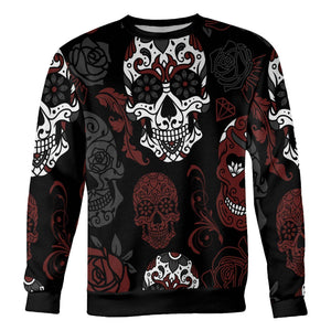 Black and Red Sugar Skull Sweatshirt Sweatshirt Black and Red Sugar Skull Sweatshirt S