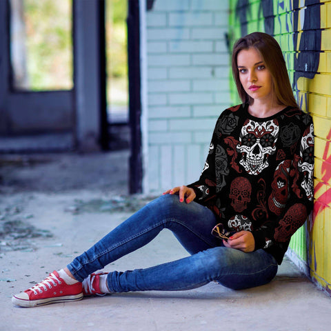 Image of Black and Red Sugar Skull Sweatshirt Sweatshirt