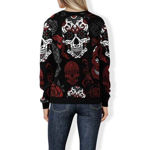 Black and Red Sugar Skull Sweatshirt Sweatshirt