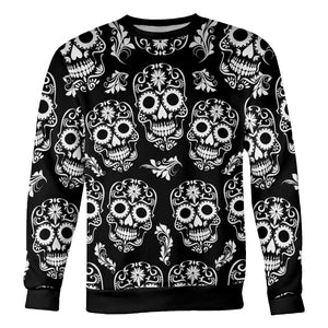 Black and White Sugar Skull Sweatshirt Sweatshirt Black and White Sugar Skull Sweatshirt S