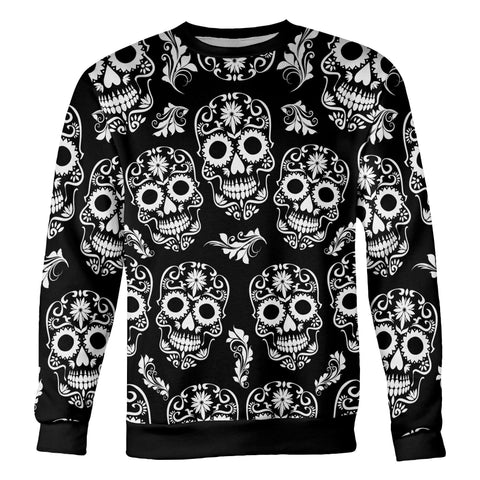 Image of Black and White Sugar Skull Sweatshirt Sweatshirt Black and White Sugar Skull Sweatshirt S
