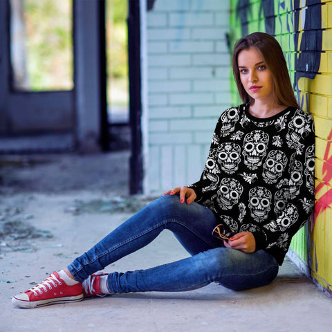 Black and White Sugar Skull Sweatshirt
