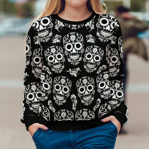 Black and White Sugar Skull Sweatshirt Sweatshirt