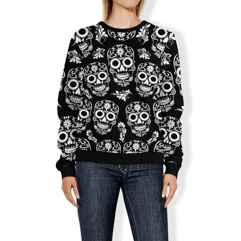 Image of Black and White Sugar Skull Sweatshirt Sweatshirt