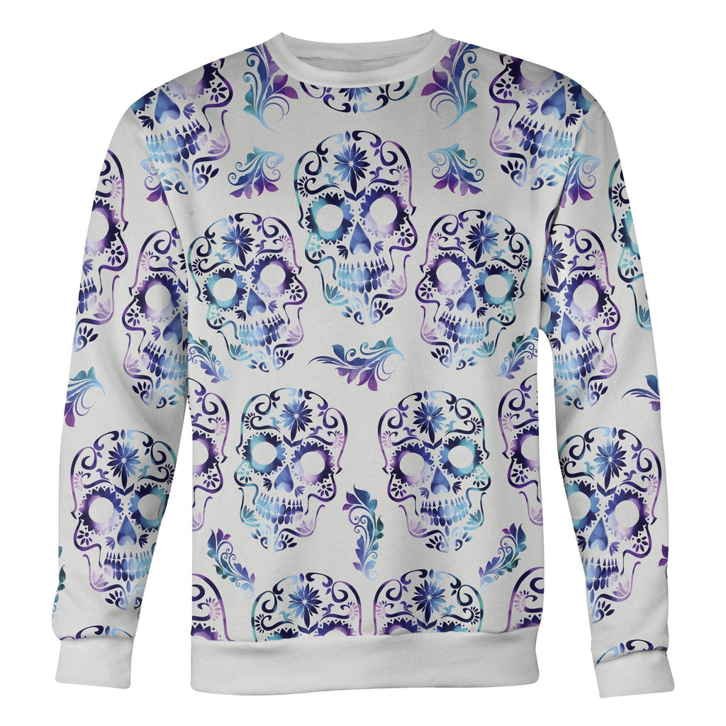 White and Purple Sugar Skull Sweatshirt Sweatshirt White and Purple Sugar Skull Sweatshirt S