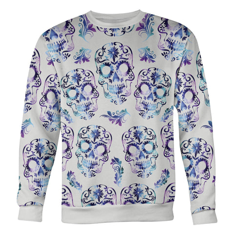 Image of White and Purple Sugar Skull Sweatshirt Sweatshirt White and Purple Sugar Skull Sweatshirt S