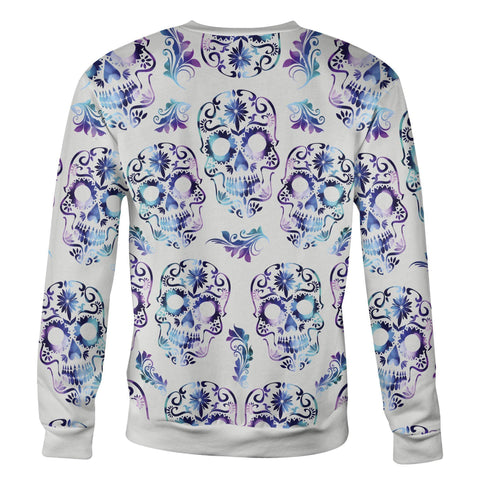 Image of White and Purple Sugar Skull Sweatshirt Sweatshirt