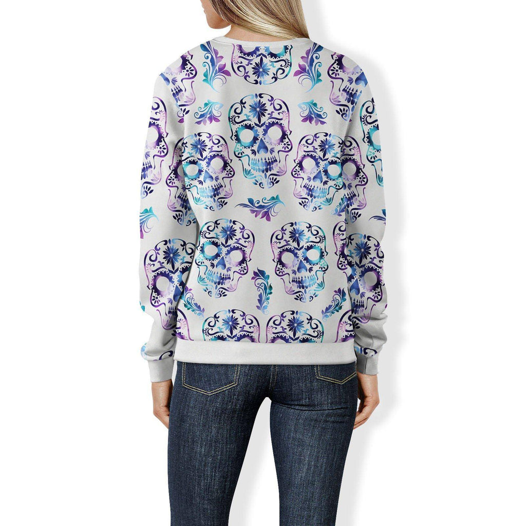 White and Purple Sugar Skull Sweatshirt Sweatshirt