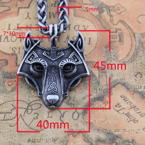 Image of Norse Vikings Pendant and Necklace with Wolf Head Pendant Necklaces