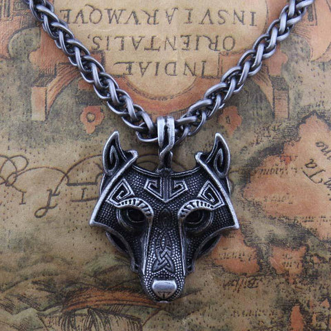 Image of Norse Vikings Pendant and Necklace with Wolf Head Pendant Necklaces Bronze 50cm Chain