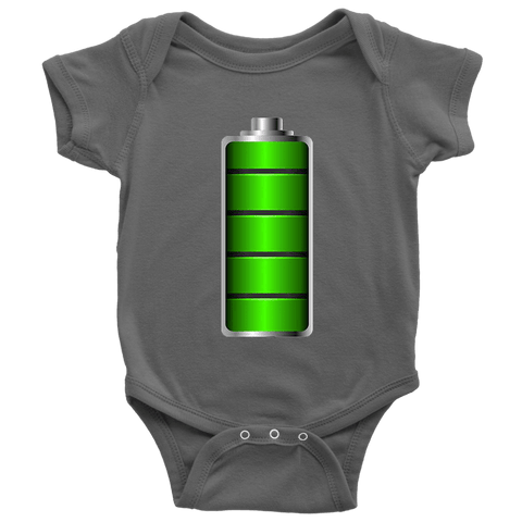 Image of Fully Charged Onsies T-shirt Baby Bodysuit Asphalt NB