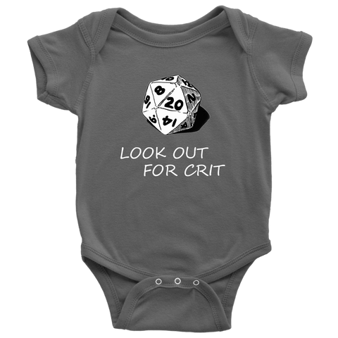 Image of Look Out For Crit Onesies T-shirt Baby Bodysuit Asphalt NB