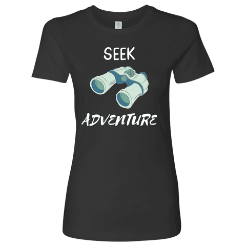 Image of Seek Adventure with Binoculars (Womens) T-shirt Next Level Womens Shirt Heavy Metal S