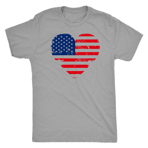 Image of Love America Men's Shirts, White T-shirt Next Level Mens Triblend Premium Heather S