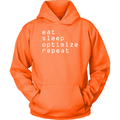 Image of eat, sleep, optimize repeat Hoodie V.1 T-shirt Unisex Hoodie Neon Orange S