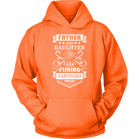 Father and Daughter Fishing Partners T-shirt Unisex Hoodie Neon Orange S