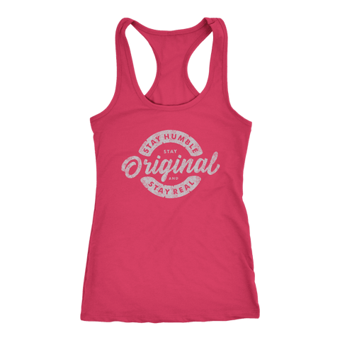 Image of Stay Real, Stay Original Womens T-shirt Next Level Racerback Tank Raspberry XS