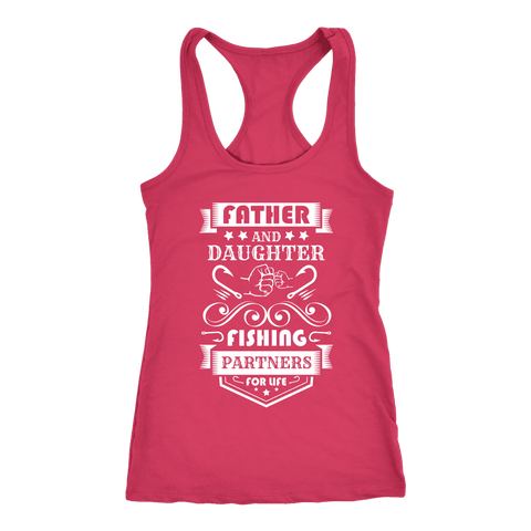 Image of Father and Daughter Fishing Partners T-shirt Next Level Racerback Tank Raspberry XS