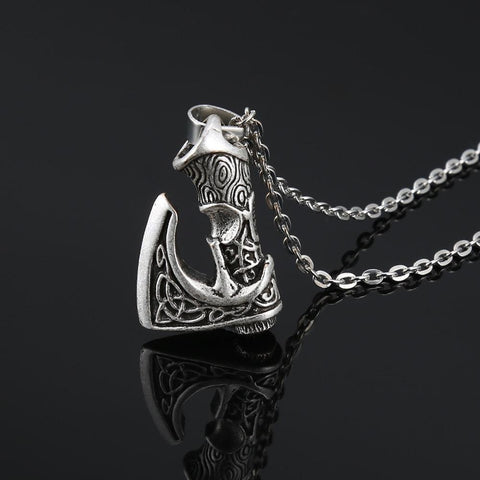 Antique Silver Viking Axe Pendant