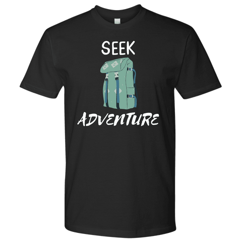 Image of Seek Adventure with Backpack (Mens) T-shirt Next Level Mens Shirt Black S