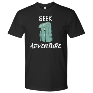 Seek Adventure with Backpack (Mens) T-shirt Next Level Mens Shirt Black S