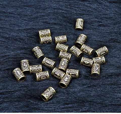 Antique Bronze Norse Viking Rune Beads Beads
