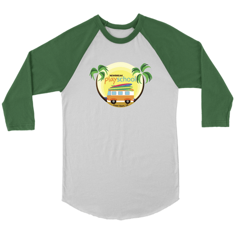 Image of Newbreak Playschool Raglan Shirt T-shirt Canvas Unisex 3/4 Raglan White/Evergreen S
