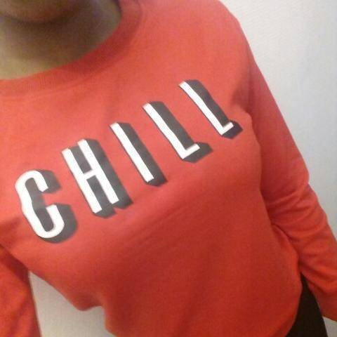 "Solid Red ""CHILL"" Sweatshirt Hoodies & Sweatshirts"