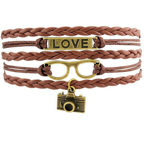 Image of Infinity Love Photography Leather Wrap Charm Bracelets B0981