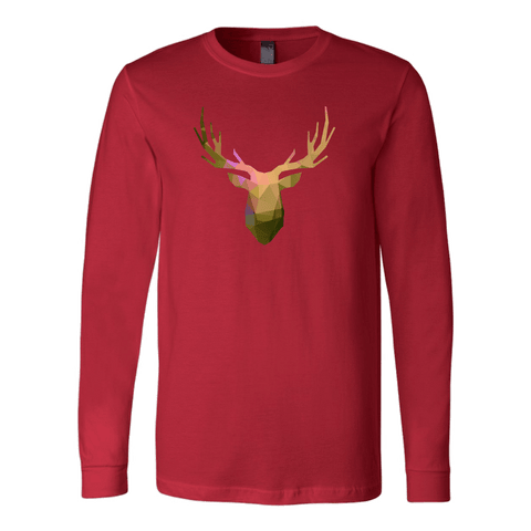 Deer Polygonal 2 T-shirt Canvas Long Sleeve Shirt Red S