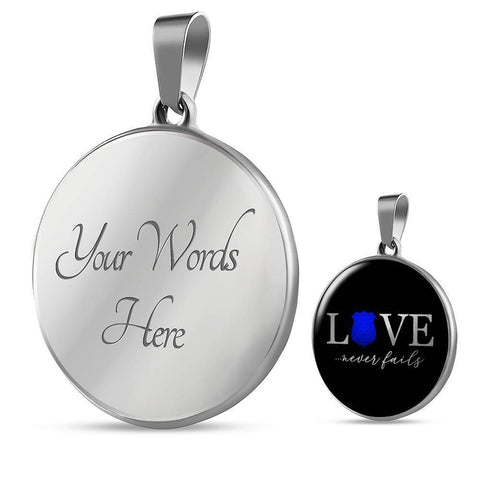 Love Never Fails, Police | Circle Necklace Jewelry Luxury Necklace (Silver) Yes