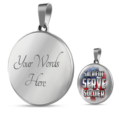 Image of Sacrifice, Serve, Soldier(silver) | Circle Necklace Jewelry Luxury Necklace (Silver) Yes