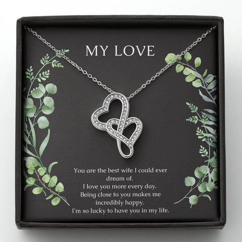 My Love, Dual Heart Necklace