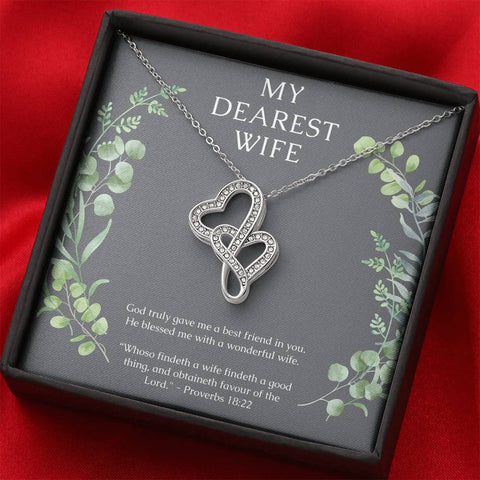 Proverbs Wife Dual Heart Necklace