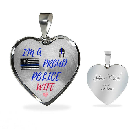 Proud Police Wife Jewelry Luxury Necklace (Silver) Yes