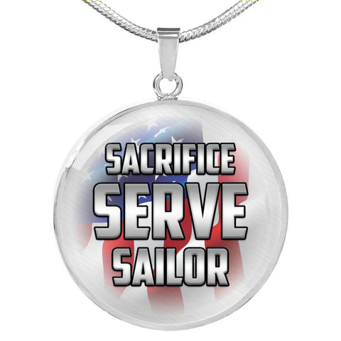 Image of Sacrifice, Serve, Sailor(silver) | Circle Necklace Jewelry Luxury Necklace (Silver) No