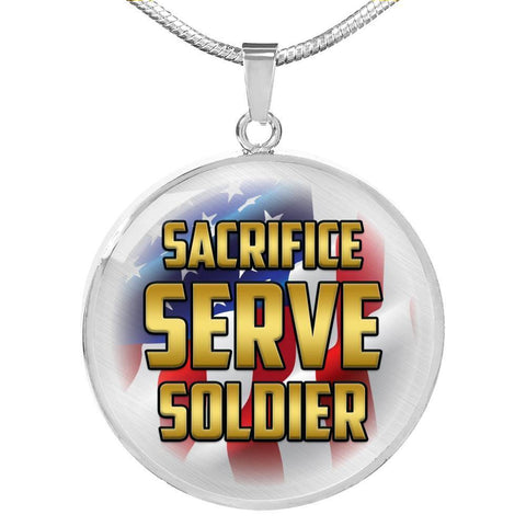 Sacrifice, Serve, Soldier(gold) | Circle Necklace Jewelry Luxury Necklace (Silver) No