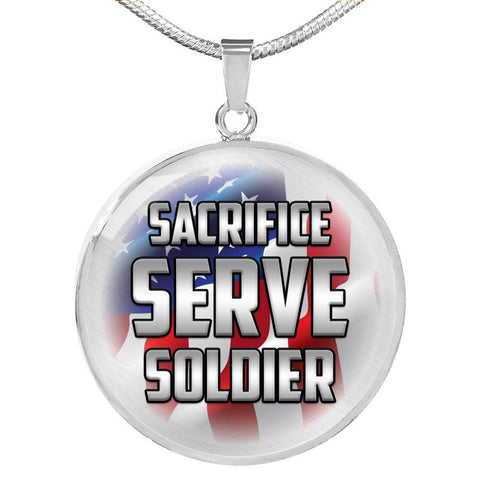Image of Sacrifice, Serve, Soldier(silver) | Circle Necklace Jewelry Luxury Necklace (Silver) No